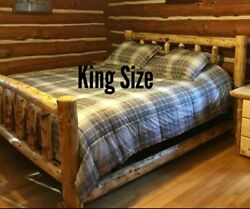 Log Bed! Beautiful and Sturdy! Half Log Side Rails with Mattress Beams! Rustic
