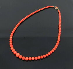 Vintage Natural Untreated Rich Salmon Color Coral Necklace
