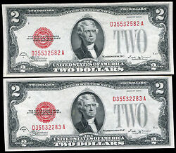 2 Consecutive Fr. 1506 1928-e 2 Two Dollars Usn United States Notes Gem Unc
