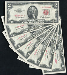 7 Consecutive 1953-a 2 Two Dollars Star Usn United States Notes Gem Unc