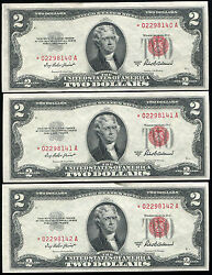 3 Consecutive 1953-a 2 Two Dollars Star Usn United States Notes Gem Unc