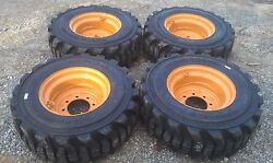 4 NEW 12-16.5 Carlisle Guard Dog Tires & RimsWheels for Case 1845C etc-12X16.5
