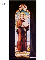 + Fine Older Church Stained Glass Window + St. Anthony + Shipping Available +
