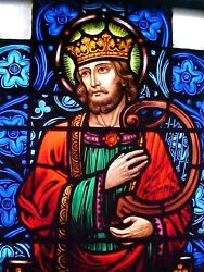 +nice Old Church Stained Glass Window Of King David + Shipping Available +