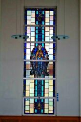 + Nice Figural Stained Glass Window 15and039 Tall X 4and039-6w 10 Of 12 + Chalice Co.