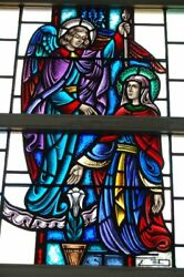 + Nice Figural Stained Glass Window 15and039 Tall X 4and039-6w. 6 Of 12 + Chalice Co.