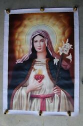 + Hand Painted Image Of The Immaculate Heart Of Mary On Canvas + Chalice+14