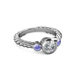 Diamond Si2 G And Tanzanite 3 Stone Rope Ring 0.70 Ct Tw In 14k Gold Jp103525