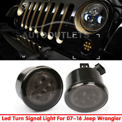 Pair Front Smoked Lens LED Turn Signal Lights Amber For 2007-2016 Jeep Wrangler