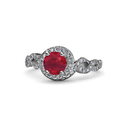 Ruby And Diamond Twisted Halo Engagement Ring 1.50 Carat Tw In 14k Gold Jp83713
