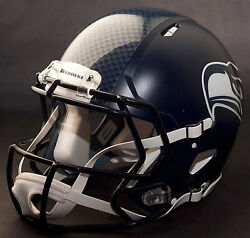 Seattle Seahawks Nfl Authentic Gameday Football Helmet W/ Cu-s2bd-sw Facemask