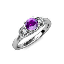 Amethyst And Diamond Women Halo Engagement Ring 1.55 Ct Tw In 14k Gold Jp85630
