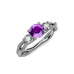 Amethyst And Diamond 3 Stone Engagement Ring 1.55 Ct Tw In 14k Gold Jp88667