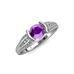 1 1/3 Ctw Round Diamond And Amethyst Womens Engagement Ring 14k Gold Jp87743