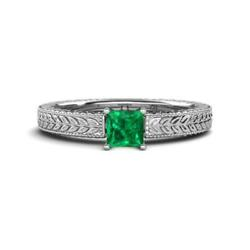 Emerald Engraved Solitaire Ring With Milgrain Work 0.85 Ct In 14k Gold Jp81042