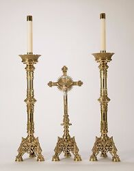 Classic Pair Of Ornate Altar Candlesticks 30 Ht + Altar Cross Also Available +