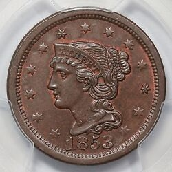 1853 N-24 Pcgs Ms 64 Bn Finest Eds Braided Hair Large Cent Coin 1c Ex Twin Leaf