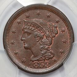 1853 N-27 R-2 Pcgs Ms 65 Bn Lds Braided Hair Large Cent Coin 1c Ex Twin Leaf