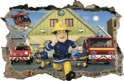 WALL STICKERS HOLE IN THE WALL 3D Firefighter FIREMAN SAM sticker to the room 47