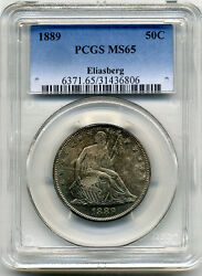 Eliasberg Collection 1889 Seated Half With Motto Pcgs Ms65