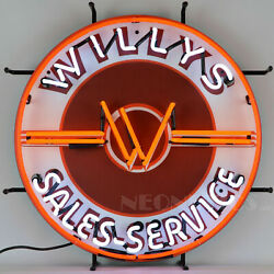 Willys Sales And Service Neon Sign - Jeep - Willys-overland - Silkscreen Backing