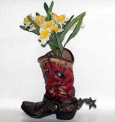 Western Cowboy Polyresin 9-1/2 Tall X 11 Long Boot Shoe With Spur Flower Vase