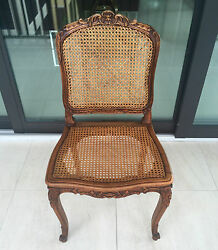 Set Of 8 Antique Louis Xv French Dining Chairs, Hand Carved