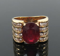 Vintage 1.50ct Diamond And 2.0ct Oval Ruby 14k Yellow Gold Ring
