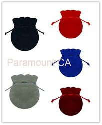 3quot;x3.5quot; Round Shape Jewelry Pouches Velour Velvet Bags Pack of 12 Velveteen Bags $5.95