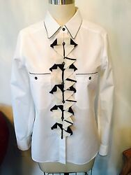 Chanel Blouse Black And White Top Shirt Size 40 Long Sleeve