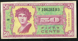 Series 541 50 Fifty Cents Mpc Military Payment Certificate Replacement Au Rare