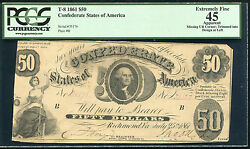 T-8 1861 50 Fifty Dollars Csa Confederate States Of America Pcgs Ef-45