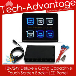 12V24V 6 GANG MARINE LED TOUCH PANEL CONTROL CIRCUIT BREAKER BOAT SWITCH PANEL