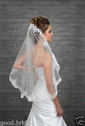 WhiteIvory Wedding Veil One Layer Lace Applique Edge Bridal Veils With Comb++