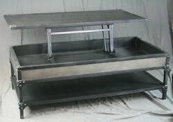 Vintage Industrial All Steel Lift Top Coffee Table With Shelf. Handmade.