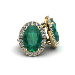 14k Gold 1 3/4 Ct Oval Emerald Halo Diamond Earrings - In 3 Gold Colors