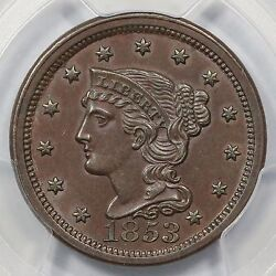 1853 N-26 Pcgs Ms 63 Bn Eds Braided Hair Large Cent Coin 1c Ex Twin Leaf