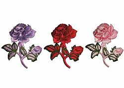 Lily Red Pink Lilac Rose Embroidered Patch Floral Embroidery Iron On Applique
