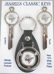 White W/silver Pontiac Indian Chief Deluxe Classic Keys Set 1956 1957 1958 1959