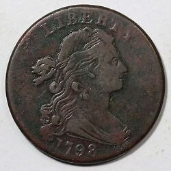 1798 S-186 R-2 M-lds 2nd Hair Style Draped Bust Large Cent Coin 1c