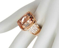 Nwt Savvy Cie 14k Rose Gold Vermeil 10 Ctw Morganite And Crystal Statement Ring