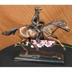 Handcrafted Bronze Sculpture Sale Marble Horse On Soldier French Mene Pj Signed