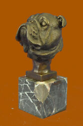 Handcrafted English Bulldog Hot Cast Detailed Bronze Figurine Marble Base Statue