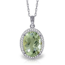 5.08 Ctw 14k Solid White Gold Time Heals Green Amethyst Diamond Necklace 16-24