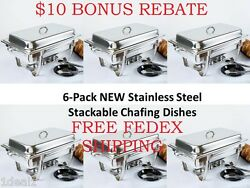6-pack New Choice Full Size 8 Qt. Stackable Stainless Steel Chafing Dishes +