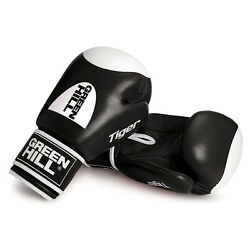 Greenhill Tiger Boxing Gloves Cow Hide Leather Target Punch Bags Pads Black 10oz