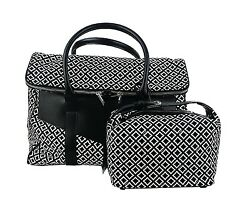 Kiton Napoli Set Of Weekend Bag And Accessories Case Canvas And Black Leather Italy