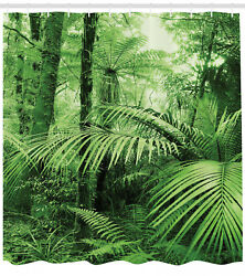 Jungle Shower Curtain Exotic Palm Trees In Tropical Forest 84 Inches Extra Long