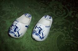 Old Signed Delft Blue Holland Shoes Pair Mint Condition Cheap No Reserve