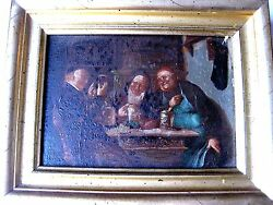 Old Painting Genre Scene Oil On Wooden Panel,germany,mid.19c